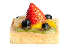Delicious strawberry cake with pineapple orange kiwi and blueber Stock Photo