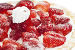 Delicious strawberry cake with whipped cream Royalty Free Stock Image