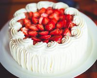 Delicious strawberry cake with whipped cream Stock Photos