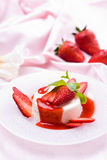 Delicious strawberry dessert. With fresh peppermint Stock Photography
