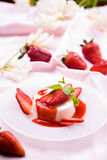 Delicious strawberry dessert. With fresh peppermint Royalty Free Stock Images