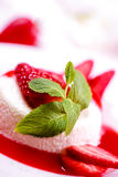 Delicious strawberry dessert. With fresh peppermint Stock Images