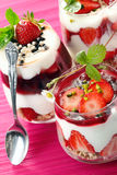 Delicious strawberry desserts stock photo