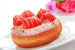 Delicious strawberry donut Royalty Free Stock Photos