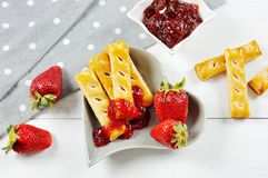 Free Delicious Strawberry Fruit And Jam And Puff Pastry Stick Stock Photo - 111085030