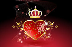Delicious strawberry heart with crown. Red strawberry heart with king crown on a black-red background with stars and golden flowers Stock Images