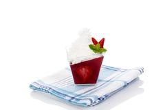 Delicious strawberry jelly dessert. Stock Photos
