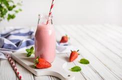 Delicious Strawberry milkshake Stock Photos