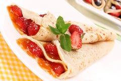 Delicious strawberry pancakes Stock Photo