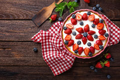 Free Delicious Strawberry Pie With Fresh Blueberry And Whipped Cream On Wooden Rustic Table, Cheesecake Royalty Free Stock Photo - 93272945