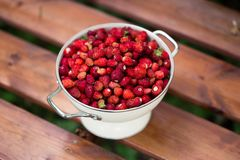 A delicious strawberry. Ripe berries. We collect strawberries. Berries, blurred wooden background stock photos
