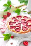 Delicious strawberry tart or cheesecake with fresh berries and cream cheese, closeup Royalty Free Stock Photography
