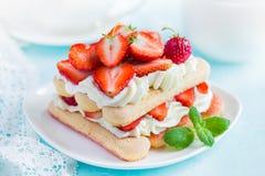 Delicious strawberry tiramisu Stock Photography