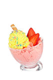 Delicious strawberry and vanilla ice cream Royalty Free Stock Images