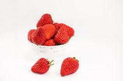 Delicious strawberry. Strawberry on the white background Stock Photos