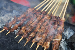 Delicious street food of Barbecued Lamb shish kebabs in Guilin Stock Photo