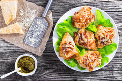Delicious stuffed  chicken breast on white plate Stock Image