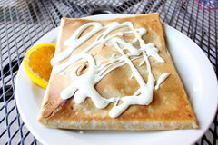 Delicious stuffed crêpe Stock Photography