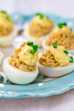 Delicious stuffed eggs on blue plate. Royalty Free Stock Photos