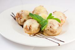 Delicious stuffed mushrooms with cheese Stock Photos