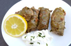 Delicious stuffed vine leaves with rice and meat royalty free stock photography