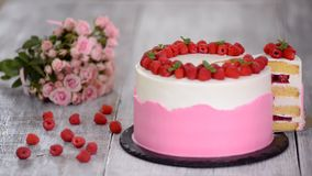 Delicious summer cake with raspberry. Delicious summer cake with raspberry stock video footage
