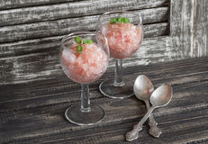 Delicious summer dessert - fresh grapefruit sorbet. Royalty Free Stock Image