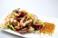 Delicious summer prawn and noodles salad Royalty Free Stock Image