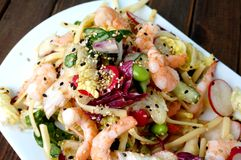 Delicious summer prawn and noodles salad Royalty Free Stock Photography