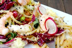 Delicious summer prawn and noodles salad Royalty Free Stock Images