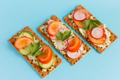 Delicious summer sandwiches with cottage cheese with greens and vegetables on a blue background stock photos