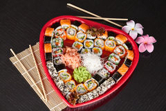 Delicious sushi. Big sushi set for few persons. Royalty Free Stock Photography