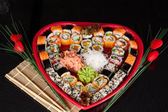 Delicious sushi. Big sushi set for few persons. Stock Image