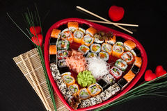 Delicious sushi. Big sushi set for few persons. Royalty Free Stock Photo