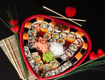 Delicious sushi. Big sushi set for few persons. Royalty Free Stock Images