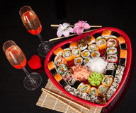 Delicious sushi. Big sushi set for few persons. Stock Images