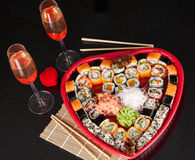 Delicious sushi. Big sushi set for few persons. Stock Photos