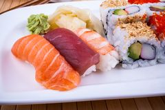 Delicious sushi with caviar wasabi Royalty Free Stock Images