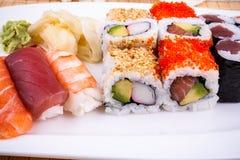 Delicious sushi with caviar wasabi close up Royalty Free Stock Photos