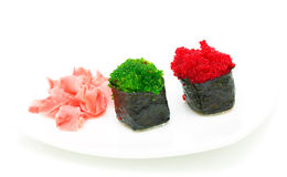 Delicious sushi with caviar on a white background. horizontal ph Stock Image