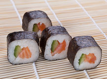 Delicious sushi on the mat Royalty Free Stock Image