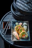 Delicious sushi mix made of fresh vegetables and seafood Royalty Free Stock Images