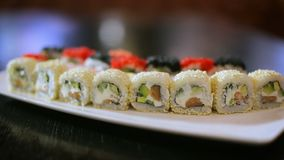 Delicious sushi in motion presentation stock footage