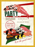 Delicious sushi party invitation poster Royalty Free Stock Images
