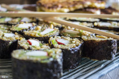 Delicious sushi. A plate of delicious homemade sushi stock photo