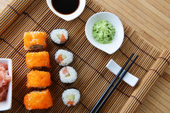 Delicious sushi rolls Stock Images