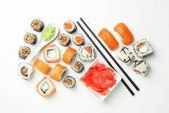 Free Delicious Sushi Rolls On White Background. Japanese Food Stock Images - 178346094