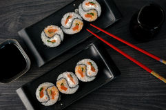 Delicious sushi rolls on the plate Stock Images