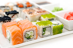 Delicious sushi rolls on the plate Royalty Free Stock Photo