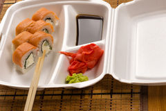 Delicious sushi rolls on plate Royalty Free Stock Images